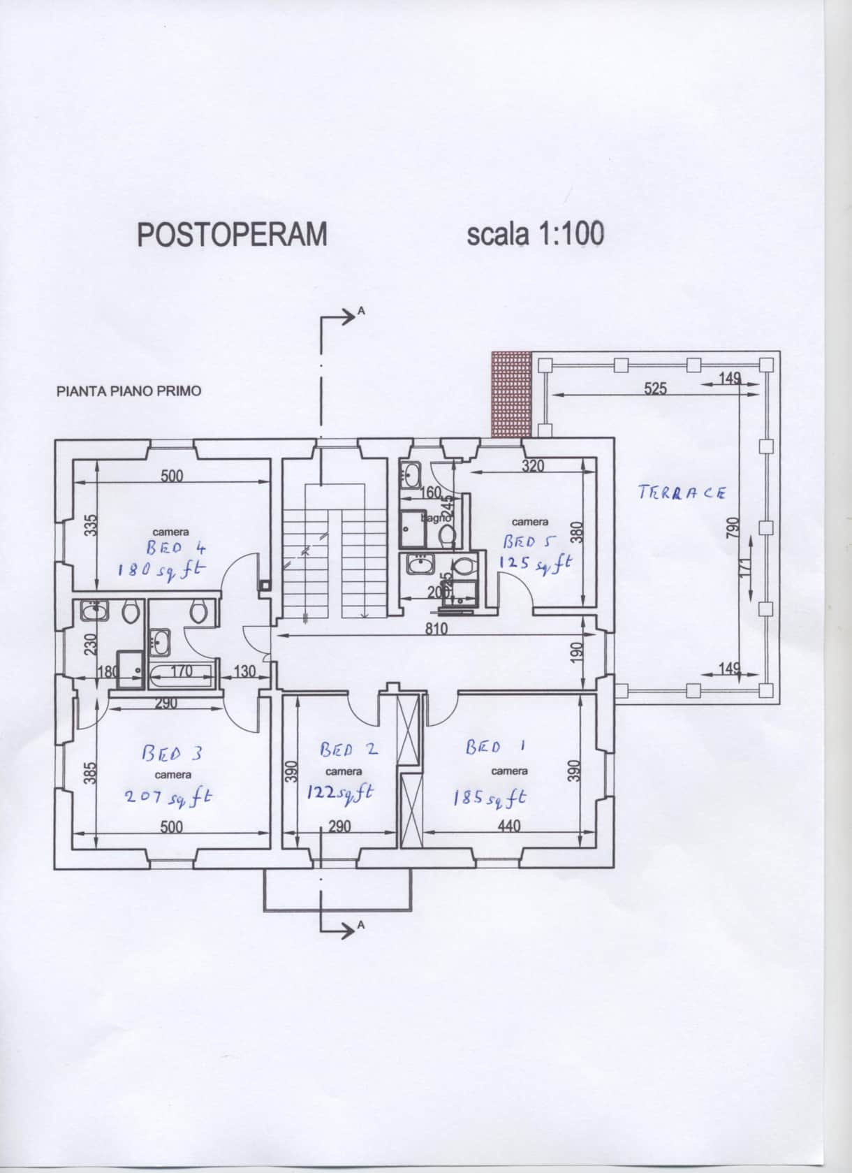 The bedroom and bathroom plan of this beautifully appointed and very well equipped Tuscan villa.