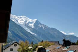 View of Dome du Gouter and glacier des Bossons from the balcony of bedroom 3.