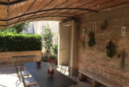 Grecale - shaded outdoor dining area - Leuca - Salento