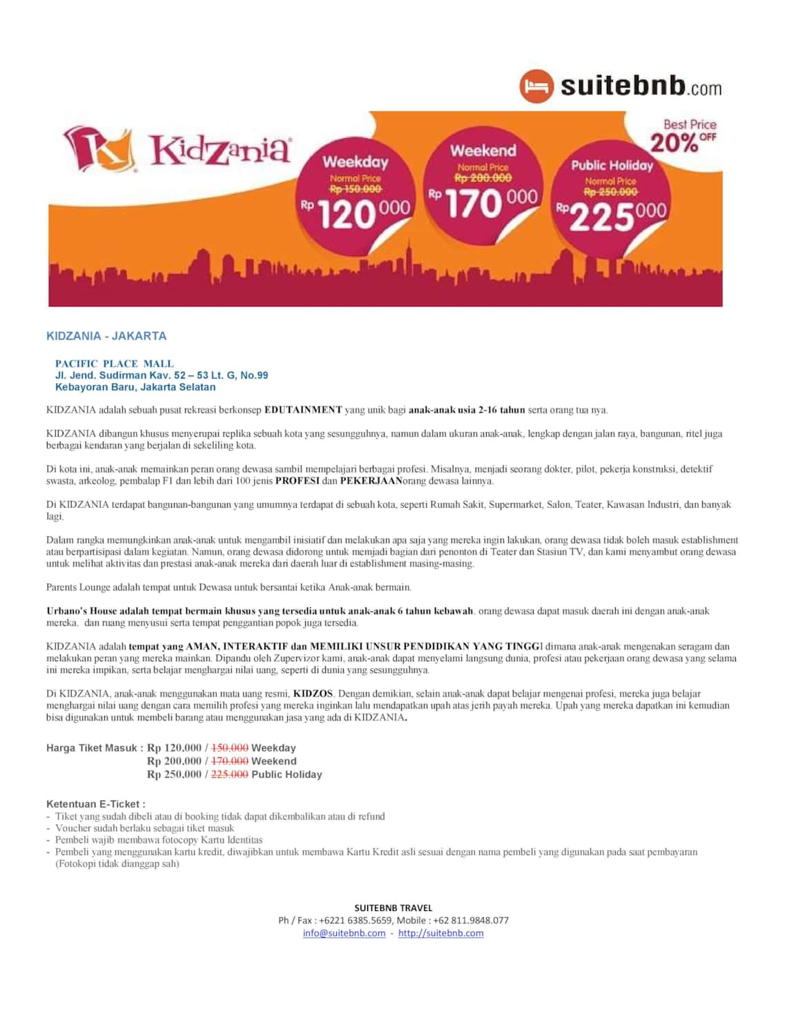 Theme Park Holiday Packages Tiket Kidzania Tickets