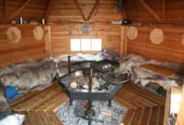 K39 Thistle Cottage – Guests have access to SWESCOT Barbecue Hut with real reindeer skins