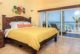 Oceanview bedroom #2 has a king size memory foam mattress and premium bedding