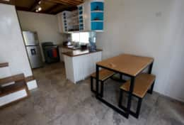 Dining table and a kitchen
