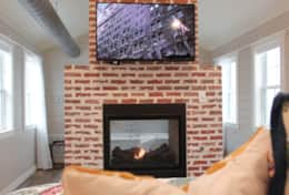 Bedroom TV/fireplace