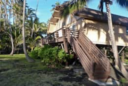 View of one of two stairways to the lanai of the Black Sands Beach Rental