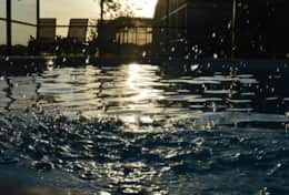 The pool can be enjoyed into the evening