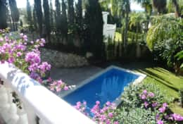 Marbella villa pool & garden taken from lounge terrace