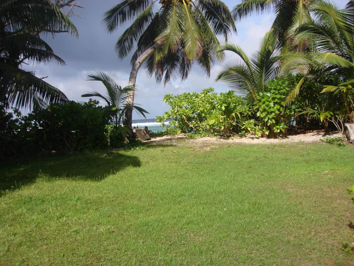 Garden of the Beach House…leading to the sundowner corner on Anse Forbans beach
