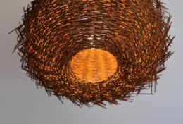 Bird's nest lampshade casts soft shadows
