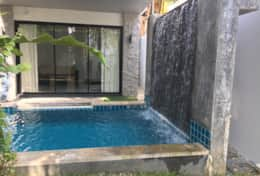 Private pool with waterfall