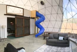 Asheville Glamping- Dome interior - Loft and Dome bedroom with slide from Loft